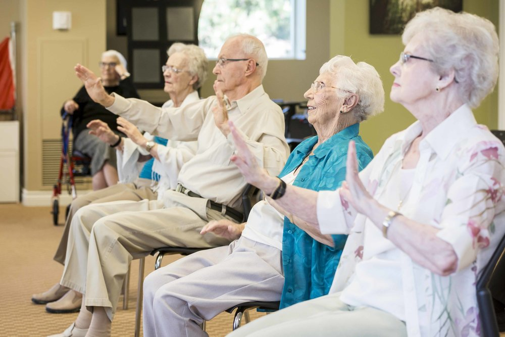 Seniors exercising at Queens Avenue Retirement Residence