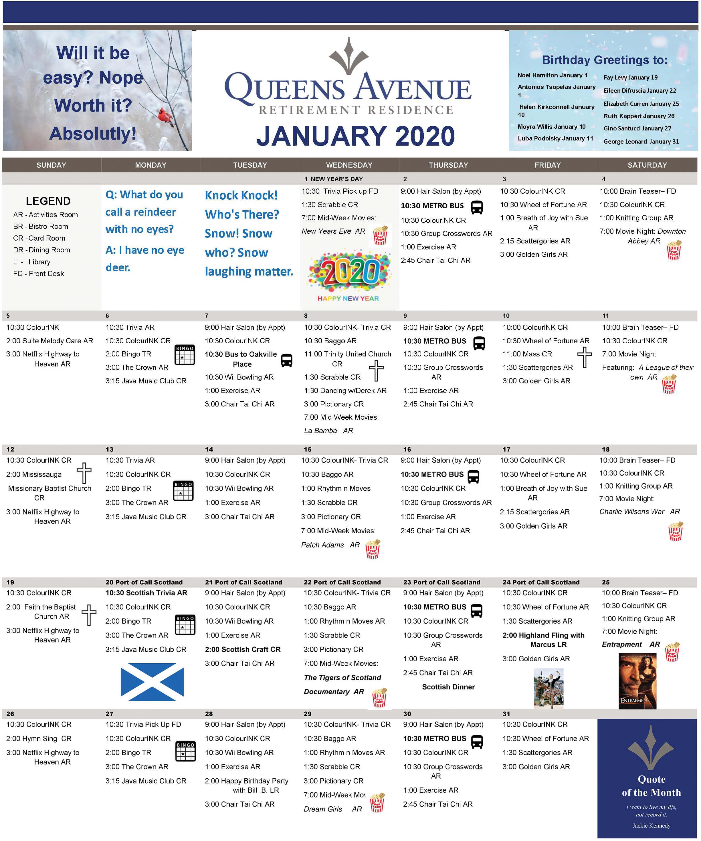 January Calendar Queens Avenue