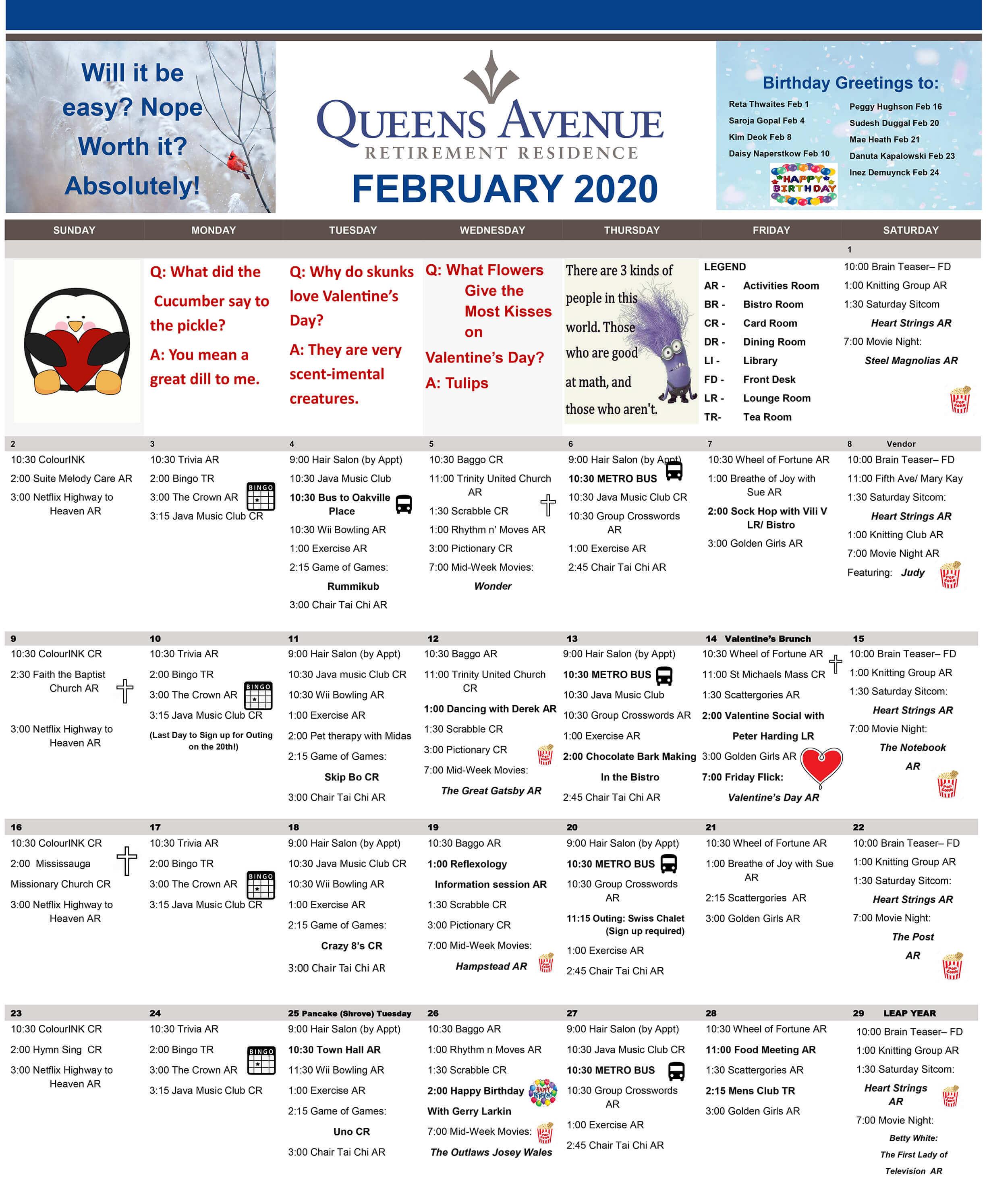 February Calendar Queens Avenue