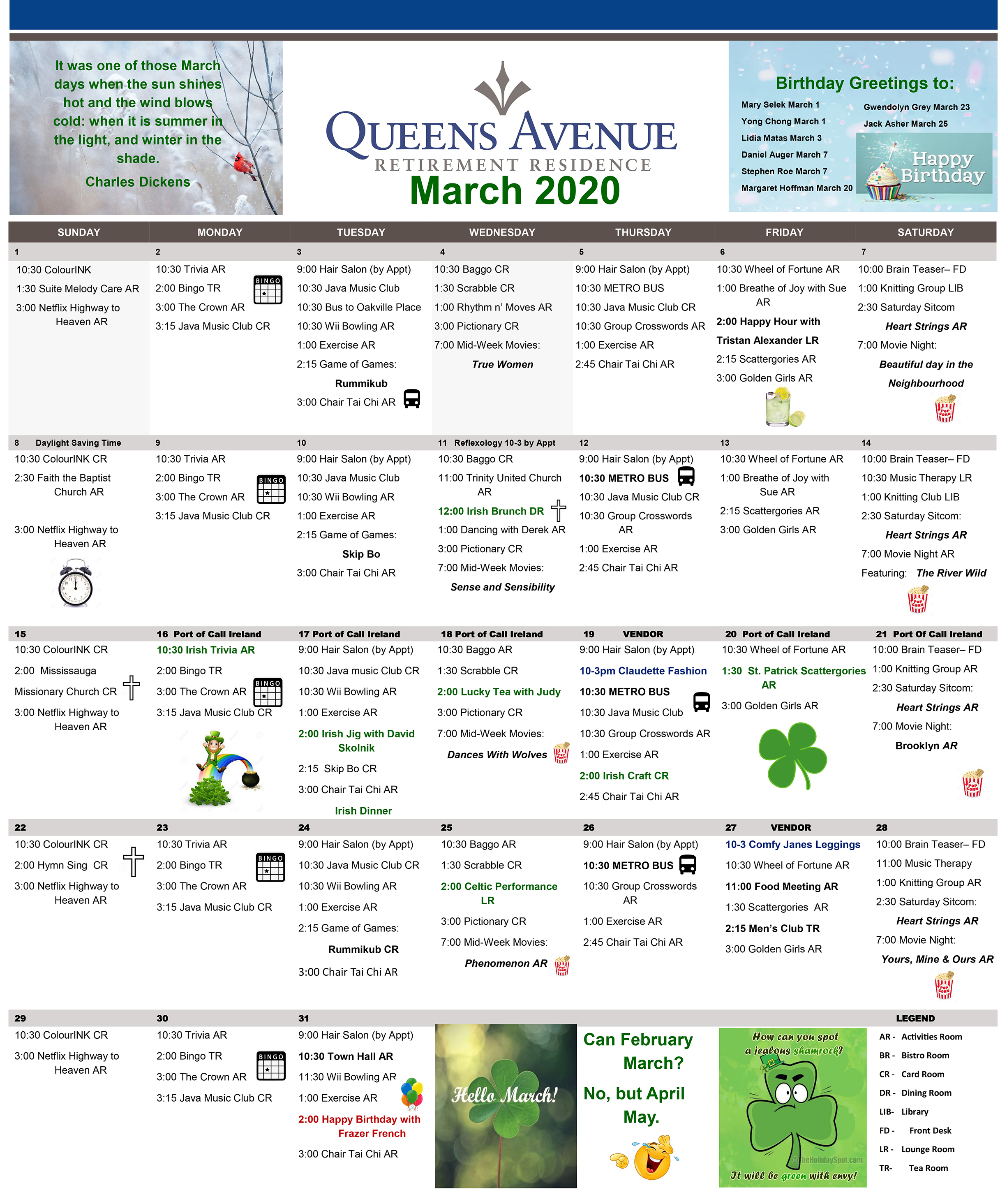 Queens Avenue Retirement Residence Calendar 2020
