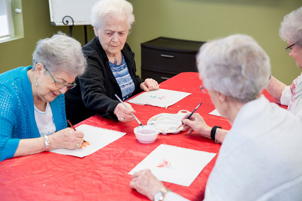Senior citizens painting competition at Queens Avenue Retirement Residence